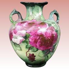 On SALE! Exquisite BELLEEK Lenox CAC (Ceramic Art Company) VASE -- Magenta CABBAGE Roses, ORNATE Handles, Hand Painted