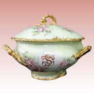 Spectacular, Rare, and HUGE William Guerin (W.G. & Co.) LIMOGES Lidded Soup Tureen -- E. MILER Signed, ORNATE Three Handled Mold, with Ladle