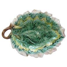 Etruscan Majolica Leaf Bread Tray Platter