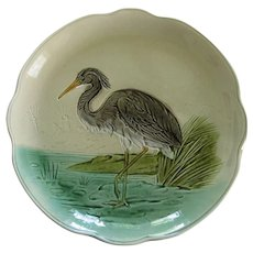 German Majolica Great Heron Bird Plate