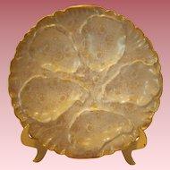 Antique Haviland Limoges Gold Daisy Designed Porcelain Oyster Plate