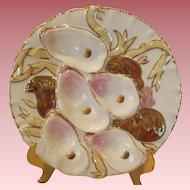 Antique Wright Tyndale & Van Roden Porcelain Turkey Oyster  Plate