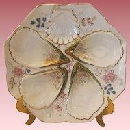 Antique Porcelain Oyster Plate With Floral Motif