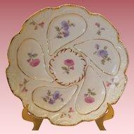 Antique Austrian Porcelain Floral Oyster Plate