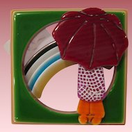 Rainbow With Umbrella Girl Pin By French Designer Lea Stein