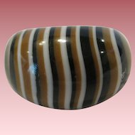 Vintage French Galalith Striped Ring