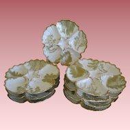 Set 8 Tressemann & Vogt T & V Limoges Oyster Plates