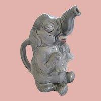 French Sarreguemines Majolica Figural Elephant Pitcher