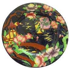 English Maling Majolica Rack Plate In Oriental Design
