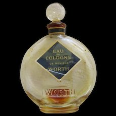 Vintage Glass Perfume Bottle By Worth Of New York Eau De Cologne Je Rievens
