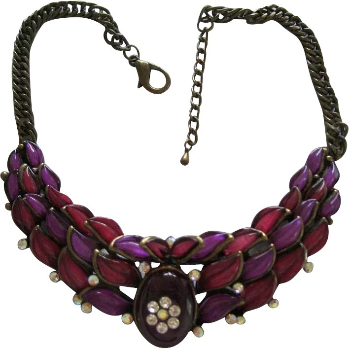 Awesome1960's Necklace With Purple & Cranberry Colored ...