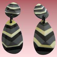 Pair Of French Designed Multi Striped Resin Clip Earrings