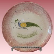 """19th Century Peafowl Spatterware 6"""" Red Plate"""