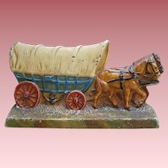 Antique Hubley Cast Iron Covered Conestoga Wagon And Horse Team