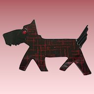 Darling French Designed Resin Black And Red Scotty Dog Pin Brooch