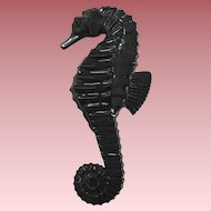 Black French Designed Resin Seahorse Pin