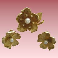 Vintage Francios Brooch And  Clip Earrings Floral Design Faux Pearl And Rhinestones