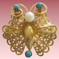 Cute Vintage 1950's Gold Wash Butterfly Pin With Faux pearl And Turquoise