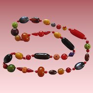 1930's French Designed Galalith And Other Vintage Beaded Necklace