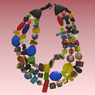 Stunning Carlos Sobral Brazil Resin Triple Stranded Necklace