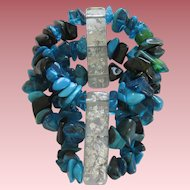 Stunning Carlos Sobral Brazil Resin Stretch Bracelet With Turquoise Nuggets
