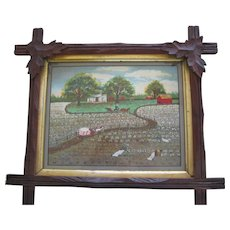 Original Folk Art Painting On Board Of Southen Plantation Harvesting Cotton