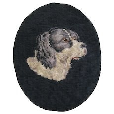 Small Victorian Needle Point Of a Dog Head - Red Tag Sale Item