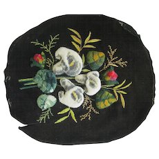 Victorian Plushwork Of Calla Lilies On Velvet