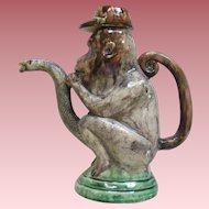 Antique Palissy Ware Majolica Monkey And Snake Figural Teapot