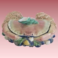 Rare English Majolica Covered Figural Crab And Shell Dish Brown Westhead Moore