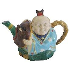 English Minton Majolica China Man Teapot