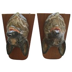 Pair Of Vintage German Sheppard Dog Head Bookends Wood And Composition