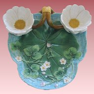 English George Jones Majolica Strawberry Server With Pond Lily Design And Strawberry Blossoms
