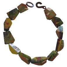 French Designed Chunky Resin Choker Necklace In Earth Colors
