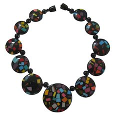 French Designed Disk With Confetti Motif Resin Necklace