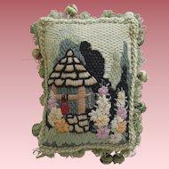 Small Vintage Needlework Pillow With Garden Scene