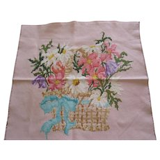 Cross Stitch Of Victorian Basket Of Flower With Bow