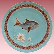 English Holdcroft Majolica Fish Plate