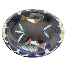 Lovely English Majolica Fish Platter With Cobalt Ground