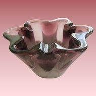 Amethyst Slag Glass Ruffled Bowl