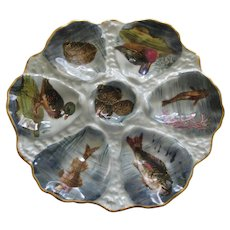 Rare & Exquisite Haviland Limoges Porcelain Oyster Plate With Wild Ducks, Fish And Oysters