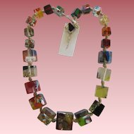 Carlos Sobral Brazil Large Palace Design Graduating Cubed Resin Necklace