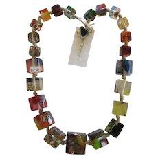 Carlos Sobral Brazil Large Palace Design Graduating Cubed Resin Necklace