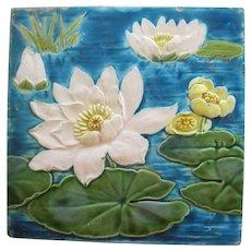 Minton Majolica Pond Lily Tile