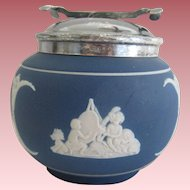 Adams Cobalt Blue Jasperware Sugar Bowl With Sugar Tongs Tunstall England