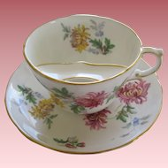 Lovely Antique Porcelain Mustache Cup And Saucer With Chrysanthemums Motif
