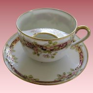 Antique Nippon Porcelain Mustache Cup And Saucer Pink Flowers