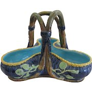 George Jones Majolica Trifold Basket