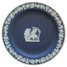 Cobalt Blue Wedgwood Jasperware Plate With Winged Horse