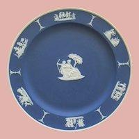 Cobalt Blue Wedgwood Jasperware Plate With Cupid